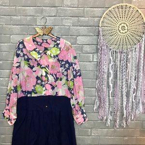 handmade // 60s 70s vintage floral shirtdress xxl